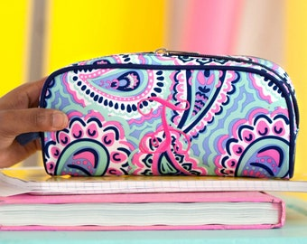 Monogrammed Bag Pencil Pouch Travel Teen Cosmetic Sophie Paisley