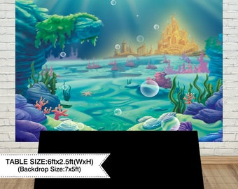 Under The Sea Little Mermaid Backdrop Ocean Nautical Birthday Party Banner Photo Studio Booth Background Newborn Baby ShowerAEC 00296