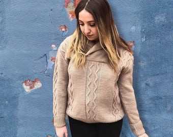 Vintage 1980's Beige Cable Knit Sweater
