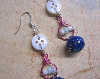 Repurposed Button Beaded Pink + Blue Charm Earrings