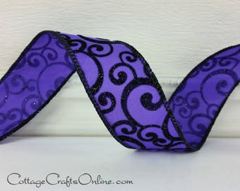"""Halloween Wired Ribbon, 2 1/2"""", Black Flocked, Glittered Scroll on Purple Satin - THREE YARDS - Offray """"Witch's Brew""""  Wire Edged Ribbon"""
