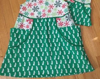 "Size 5 Girl's Christmas Dress, Matching 14"" Doll Dress"