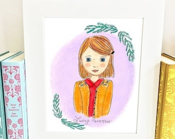ON SALE Lucy Pevensie Print - Chronicles of Narnia Print -  Nursery Wall Art - HLP