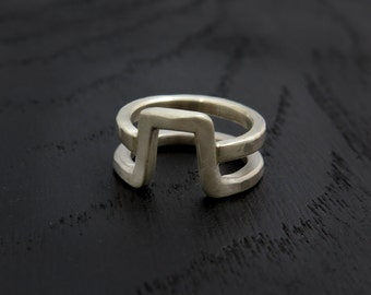 Double ring, men silver ring, geometric ring, unique silver ring, statement silver ring, minimalist ring, statement ring, modern silver ring