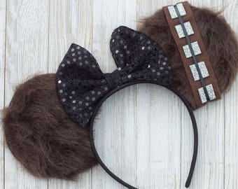 Star Wars Mickey Ears, Minnie Mouse Ears, Disney Ears, Mickey Ears, Chewbaca Inspired Mickey Ears, Chewbaca Minnie Mouse Ears,Star Wars Ears