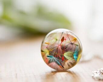 Rainbow Dandelion Wish Necklace - Dandelion Orb , Rainbow Necklace , Dandelion Necklace , Dandelion Seed Necklace , Dandelion Jewelry ,Resin