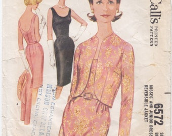 Vintage Pattern McCall's 6572 Sheath Dress with Jacket  60s Size 16 B36