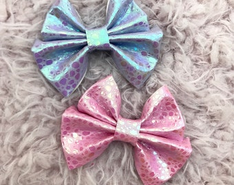 Metallic Bubbles Vegan Leather Brynn Bows on clips or headbands