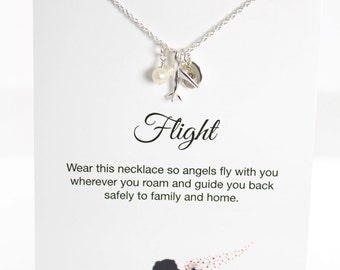 Flight Attendant Gifts Personalized Airplane Necklace and Card, 925 Sterling Silver Jewelry