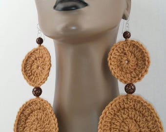 Attractive Light Brown Two Tear Crochet Earrings Embellished with Beautiful Wooden Beads, Crochet Earrings, Crochet Jewelry, Womens Earrings