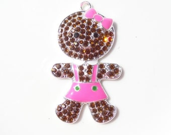 50mm Gingerbread Cookie Rhinestone Pendant, P5