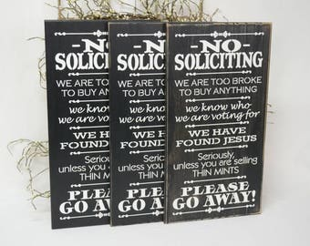 IN STOCK~   No Soliciting Sign Thin Mints Sign Front Porch Sign 9.5x18 Solid Wood Sign Choose distressing-color & hanger