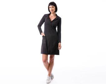 Gray pocket dress, jersey dress , winter dress, Long Sleeve Dress, Fashion Dress, Womens Winter Dresses