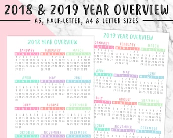 2018 & 2019 OVERVIEW PRINTABLE   A5, Half-Letter, A4, Letter   2018 Year Overview, Filofax, Kikki K, Instant Download