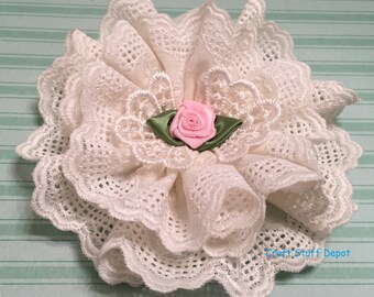 Handmade Flower, Cottage Chic, Fabric Lace Rosette, Embellishment, Package Topper, Hair Ornament, Brooch, Trim, Book Cover, Applique, Cotton