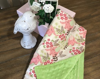 Pink and Sage Floral Elephant Minky Baby Blanket
