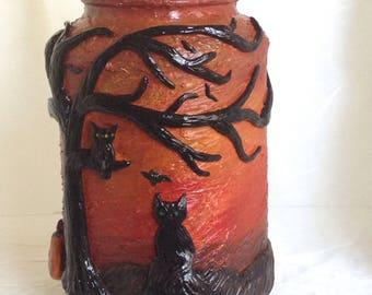 Fall/Halloween Altered Bottle,Recyled Mason Jar,Halloween Decor,Mixed Media Art ,Halloween Candy Jar,Clay Halloween Bottle