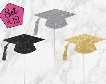 Graduation Cupcake Toppers - Set of 12 - Congrats Graduate Cap 2018 Grad Toppers for Graduation Party, High School, College - Glitter