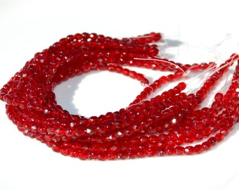 Deep Red 3mm Faceted Fire Polish Czech GLass Beads  50