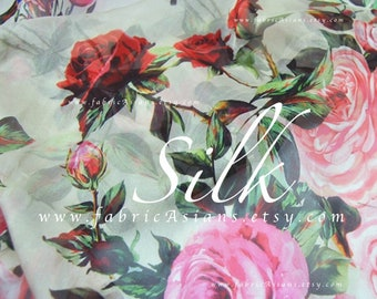 shabby chic Pink Camellia Red Rose Silk Chiffon Fabric