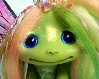 "Spring Pastel Rainbow Frog Faerie Trollfling Troll doll ""Claire"" by Amber Matthies"