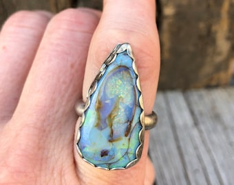 Opal & sterling ring • Man-made opal ring