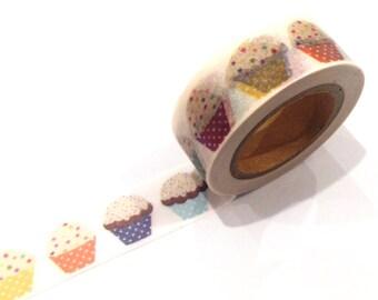 Japanese Washi Tape, Rainbow Muffin Cupcake Baking 10 METRES