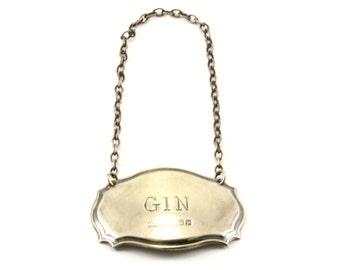 Vintage Ornate Gin Liquor Lable Bottle Ticket Silver OT 149-E
