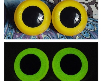 40mm Glow In The Dark Safety Eyes, Yellow Glitter Safety Eyes With Greenish Yellow Glow, 1 Pair Of Hand Painted Plastic Safety Eyes