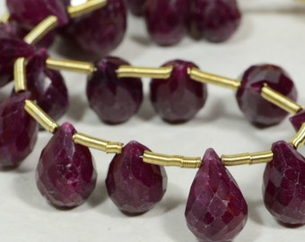 Ruby 11x7mm to 8.8x6mm Faceted Ruby Teardrop Beads Jewelry supplies