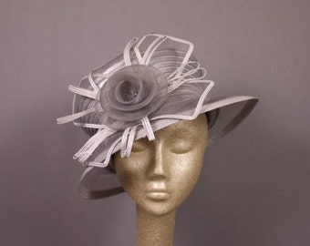 80s Silver, gray and white Summer Wedding Hat or English Tea Party Hat.