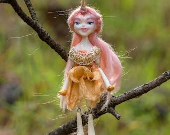 Carrie OOAK Dollie - Unicorn Girl Art Doll - Polymer Clay Sculpture - Posable Doll Ornament Animal Spirit Fantasy