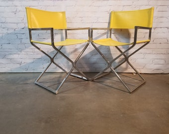 Vintage Chrome directors chairs by Virtue Furniture of California / Pair of directors chairs