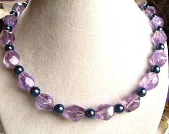 24 Inch Necklace of Purple Amethyst Nugget Beads and Midnight Blue Glass Pearls