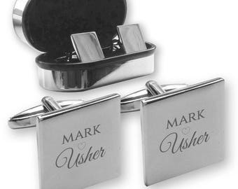 Personalised engraved USHER wedding cufflinks, in a chrome coloured presentation box, Heart - HE5