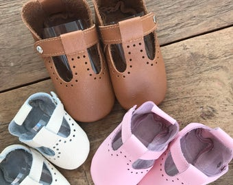 Handmade leather baby maryjane shoes