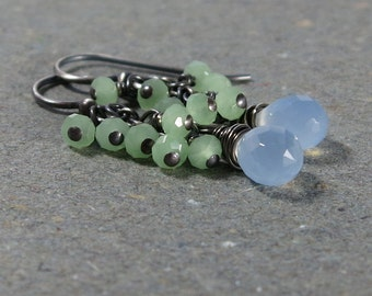 Sky Blue Earrings Chalcedony Cluster Oxidized Sterling Silver Gift for Her Gift for Girlfriend