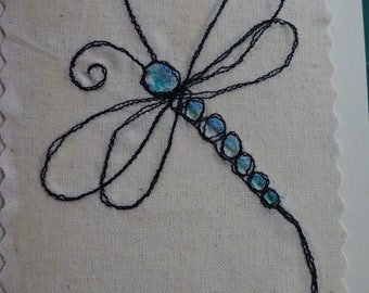 Hand made sewn Dragonfly greetings card