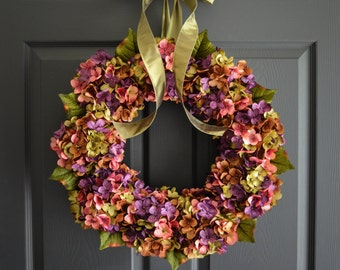 Beautiful Wreaths | Blended Hydrangea Wreath | Spring Wreaths | Front Door Wreaths | Everyday Wreath | Farmhouse Wreath | Summer Wreath