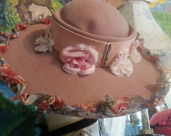 Pretty vintage pink wide brim women's hat, felt, embellished with antique ribbon and millinery flowers, made by Wilshire, very stylish, cute