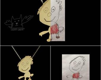 Bijoux personnalisés, sur mesure en or plaqués argent colliers de dessins de vos enfants, un cadeau parfait pour les mamans, les enfants dessin bijoux