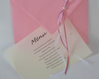 A pink envelope as a menu or invitation