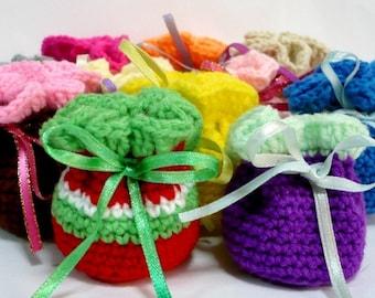 Drawstring Pouch Crochet Pattern Small Bag Crochet Pattern PDF Instant Download Super Mini Drawstring Pouches
