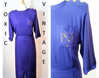 Sale! VINTAGE 1980's Purple Button & Crest Pleat Detail Dress, Size Uk 10-12. RETRO, MILITARY, Kitsch, Preppy, Elegant, Costume, Fancy Dress