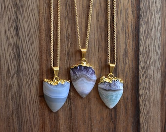 Shield Amethyst Stalactite Stone Necklace/ Gold Necklace/ Layering Natural Stone Amethyst Stalactite Mineral/ Crystal Necklace  (EPJ-NCA11)