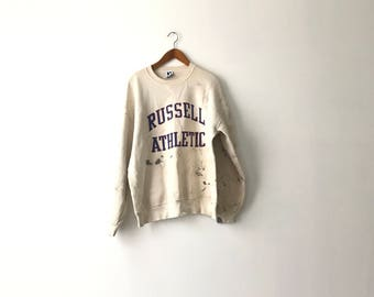 Grungy Painted Russell Athletic Sweatshirt - XL