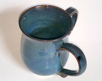 Ritual Hand Washing Cup - Wheel Thrown Pottery - Blue Double Handled Cup - Judaica