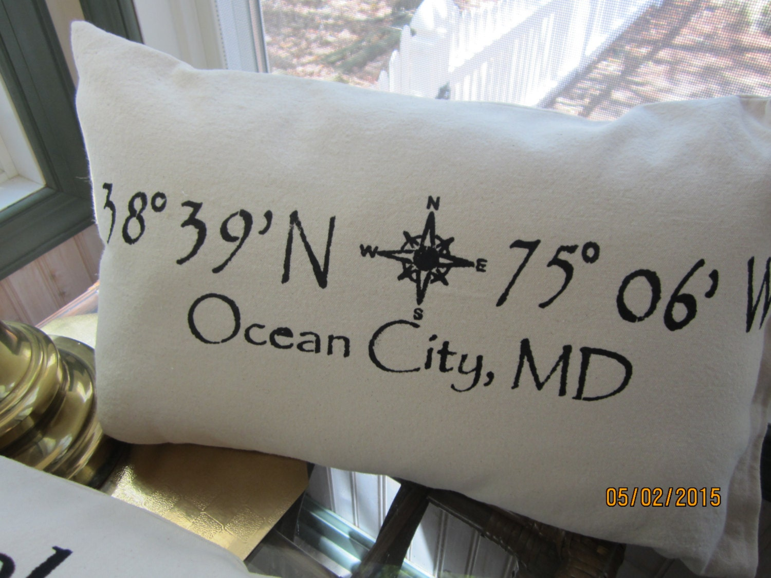 Ocean City Maryland themed pillow with map coordinates 12 x 20
