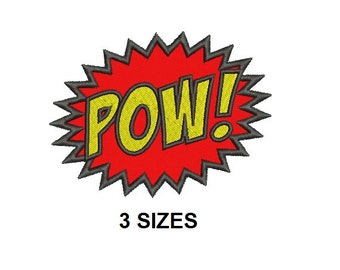 POW Super Hero Applique Embroidery Design in 3 Sizes - Instant Download