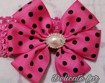 Fuschia polka dot headband/ baby crochet headband
